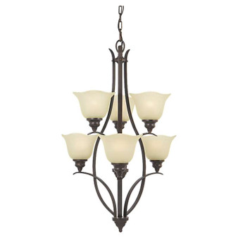 6 - Light Multi-Tier Chandelier,Grecian Bronze,Chandelier,Feiss Lighting