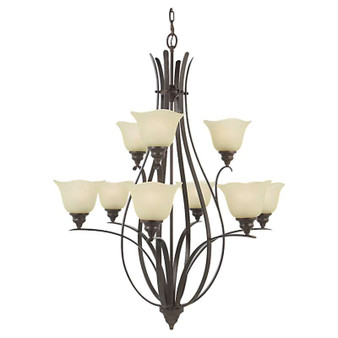 9 - Light Multi-Tier Chandelier,Grecian Bronze,Chandelier,Feiss Lighting