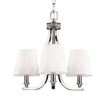 3 - Light Crystal Inlay Chandelier Polished Nickel,Polished Nickel,Chandelier,Feiss Lighting