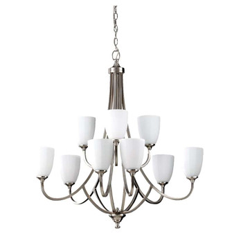 9 - Light Multi-Tier Chandelier,Brushed Steel,Chandelier,Feiss Lighting