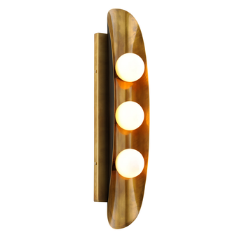Hopper 3 Light Wall Sconce Vintage Brass Bronze Accents