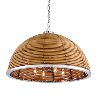 Carayes 8 Light Chandelier Natural Rattan Stainless Steel