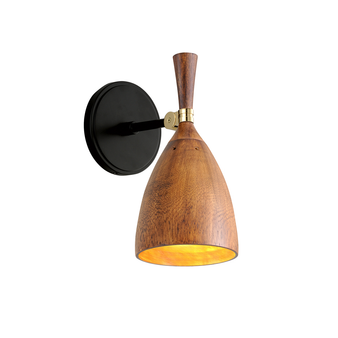 Utopia 1 Light Wall Sconce Black Brass Acacia Wood Shades