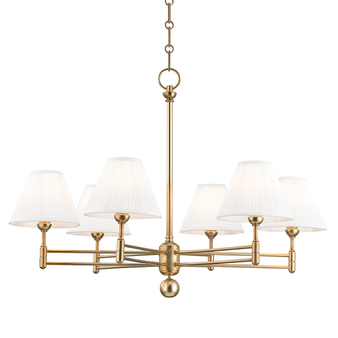 Classic No.1 6 Light Chandelier Aged Brass