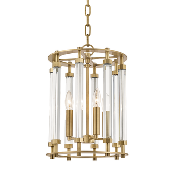 Aged Brass,Haddon,4 Light Pendant