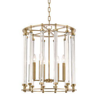 Aged Brass,Haddon,6 Light Pendant
