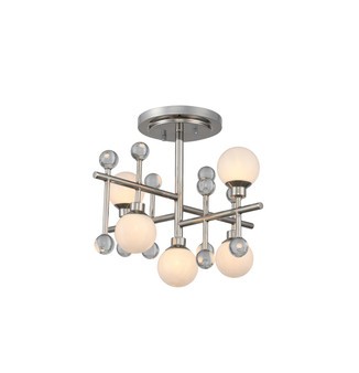 Polished Nickel,Mercer 5 Light Semi Flush