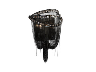 Wilshire Blvd. Collection Black Chrome Chain And Smoke Crystal Wall Sconce Wall Sconce