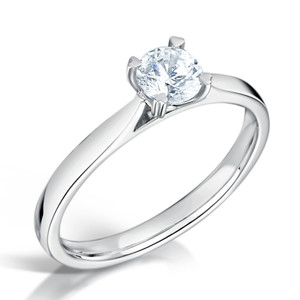 Cubic Zirconia & Silver Classic Four Claw Promise Ring