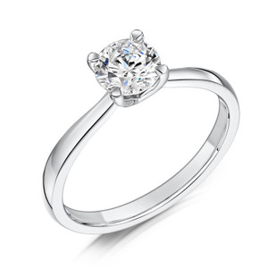 Cubic Zirconia & Silver Elegant Four Claw Promise Ring