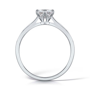 Cubic Zirconia & Silver Traditional NSEW Four Claw Promise Ring