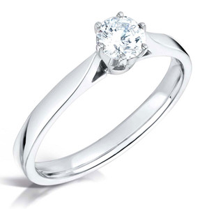 Cubic Zirconia & Silver Traditional Six Claw Promise Ring