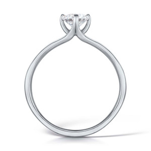 Cubic Zirconia & Silver Contemporary NSEW Four Claw Promise Ring