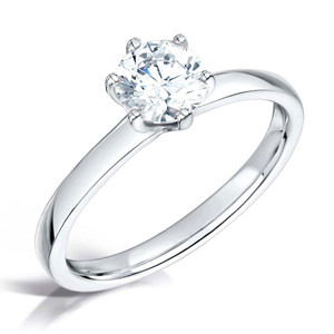 Cubic Zirconia & Silver Contemporary Six Claw Promise Ring
