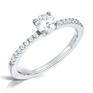 Cubic Zirconia & Silver Four Claw Promise Ring with Micro-set Shoulders