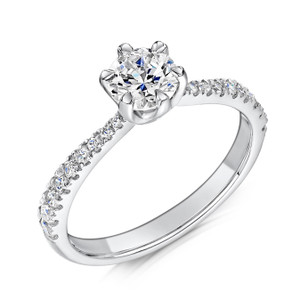 Cubic Zirconia & Silver Six Claw Promise Ring with Tapering Micro-set Shoulders