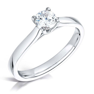 Diamond & Platinum Four Claw Crossover Engagement Ring