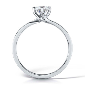 Diamond & Platinum Four Claw Twist Engagement Ring