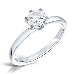 Diamond & Platinum Six Claw Twist Engagement Ring