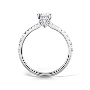 Diamond & Platinum Four Claw Engagement Ring with Tapering Micro-set Shoulders