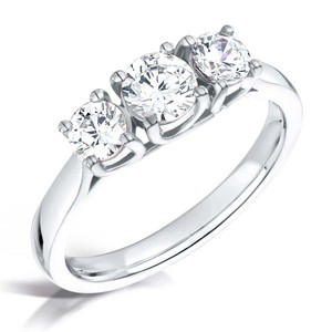 Round Diamond & Platinum  Crossover Trilogy Engagement Ring
