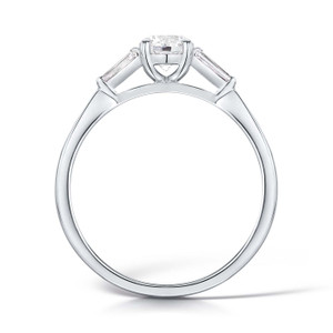 Round Diamond with Tapered Baguette Diamonds & Platinum Trilogy Engagement Ring