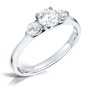 Round Diamond with Pear-shaped Diamonds & Platinum Trilogy Engagement Ring