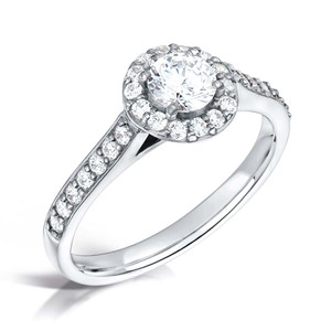 Round Diamond & Platinum Pave-set Halo Engagement Ring