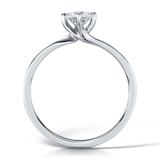 Cubic Zirconia & Silver Four Claw Twist Promise Ring