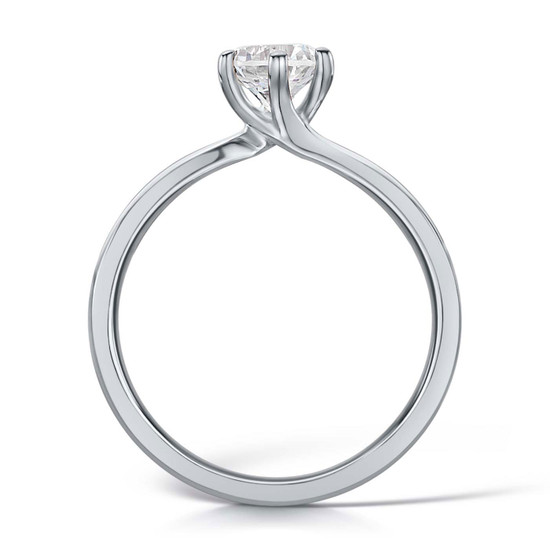 Cubic Zirconia & Silver Six Claw Twist Promise Ring