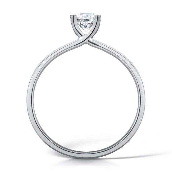 Cubic Zirconia & Silver Contemporary Four Claw Promise Ring
