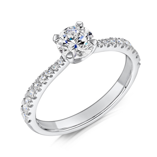 Cubic Zirconia & Silver Four Claw Promise Ring with Tapering Micro-set Shoulders