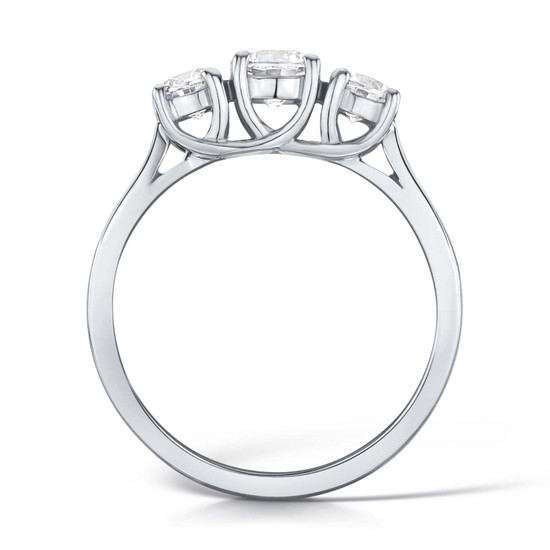 Cubic Zirconia & Silver  Crossover Trilogy Promise Ring