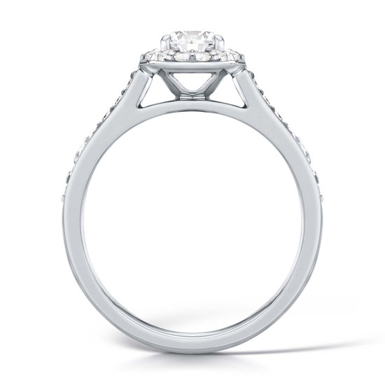 Cubic Zirconia & Silver Pave-set Halo Promise Ring