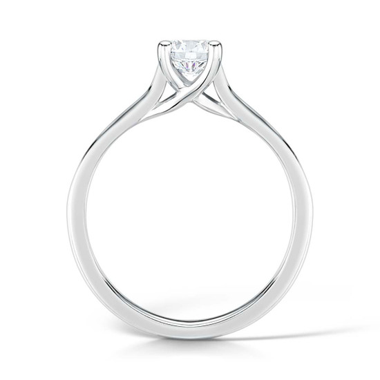 Diamond & Platinum Four Claw Crossover Engagement Ring with Channel-set Shoulders