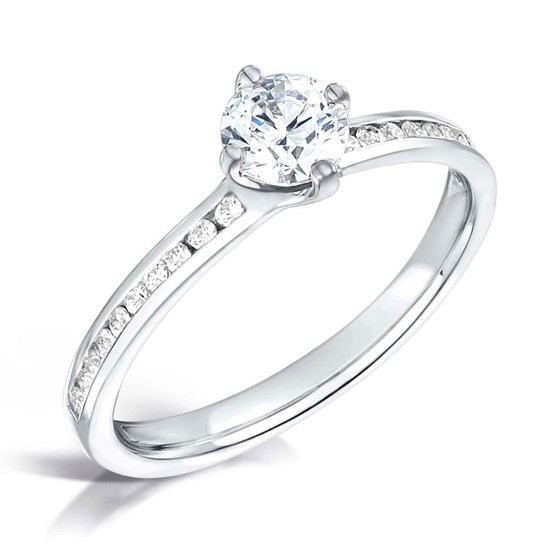 Diamond & Platinum Contemporary NSEW Four Claw Engagement Ring with Channel-set Shoulders