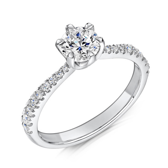 Diamond & Platinum Six Claw Engagement Ring with Tapering Micro-set Shoulders