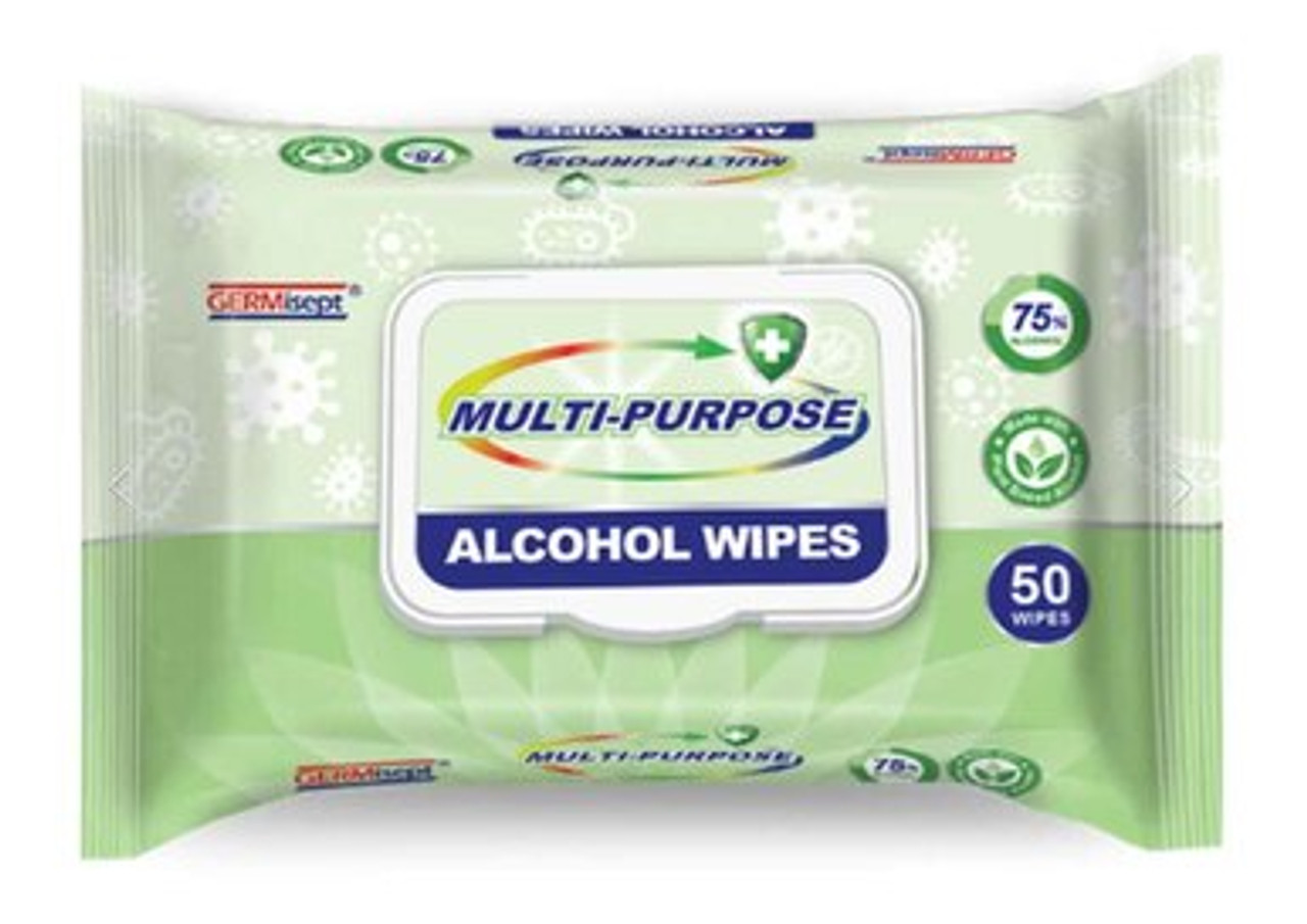 50 Count Resealable Pouch GERMisept® Multi-Purpose (Hand & Surface Wipes)