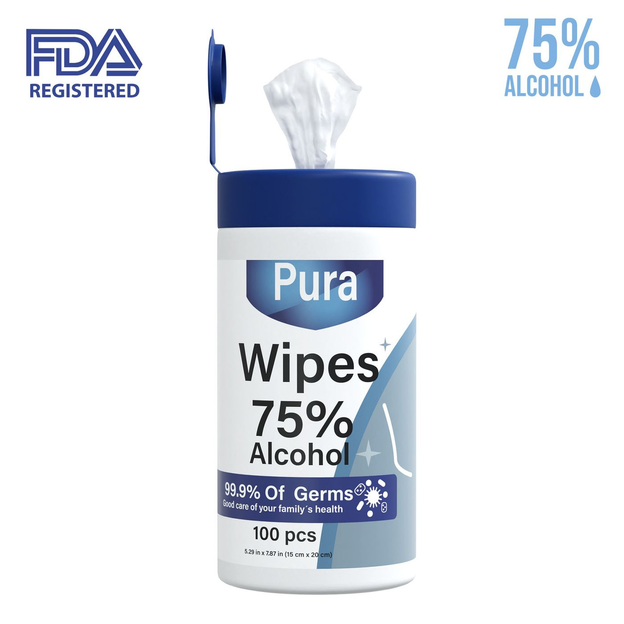 75% Alcohol Wipes - 100 Count Containers  - Case of 12 (Only $6 Each)