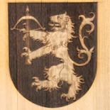 Laser engraved lion display