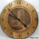 Barrel Head Clock with Lighthouse Scene on Maple Inlay