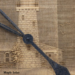 Barrel Head Clock with Lighthouse Scene on Maple Inlay - Detail closeup