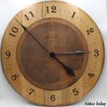 Barrel Head Clock with Lighthouse Scene on Alder Inlay