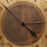 Barrel Head Clock with Lighthouse Scene on Alder Inlay - Detail