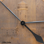 Barrel Head Clock with Lighthouse Scene on Alder Inlay - Detail closeup