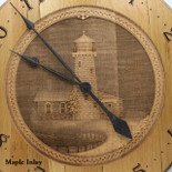 Barrel Head Clock with Lighthouse Scene on Maple Inlay - Detail