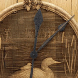 Barrel Head Clock with Loon in Pond Scene on Maple Insert - Detail closeup