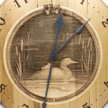 Barrel Head Clock with Loon in Pond Scene on Maple Insert - Detail