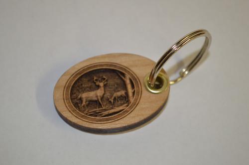 3D Deer Scene Key Ring
