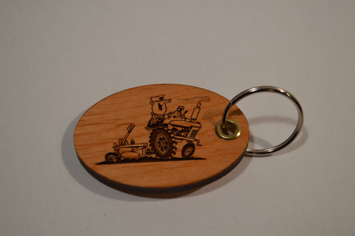 Smiling Farmer on Tractor Key Ring